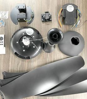 Quạt trần 5 đèn cánh gỗ màu đồng HGP-60-1036